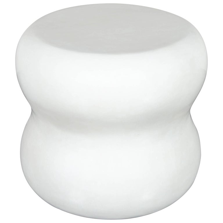 Large Mallet Drumstool, Cream Lacquer by Robert Kuo, Limited Edition