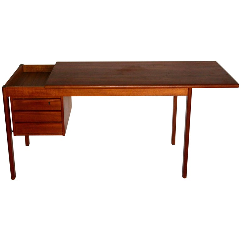 Lovig Sliding Top Teak Desk With Three Drawers For Sale At