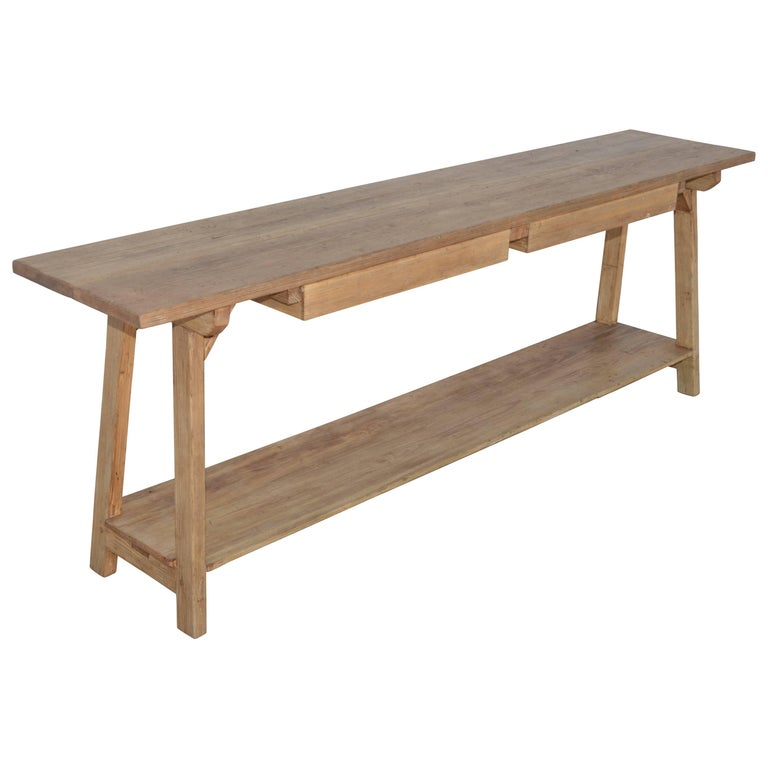 Console Table In Reclaimed Heart Pine Built To Order By Petersen Antiques For