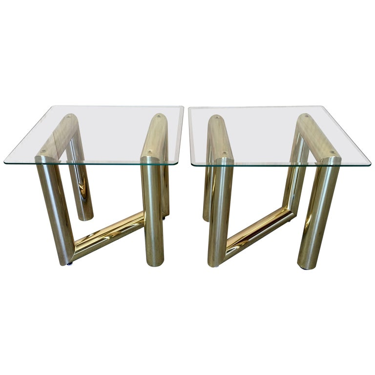 Pair of Brass Tubular Side Tables For Sale