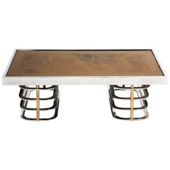 Vintage French Chrome and Brass Coffee Table