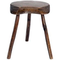 Primitive Vintage French Splayed Leg Wood Stool