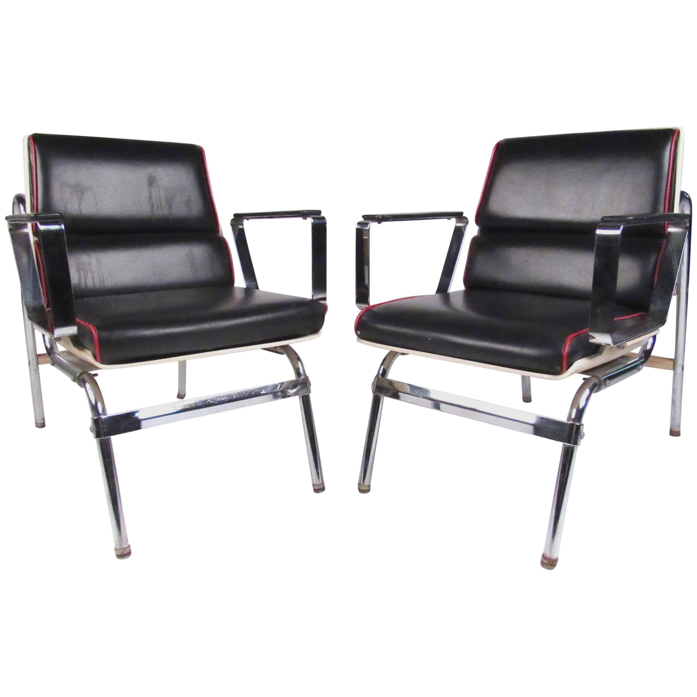 Pair of Stylish Vintage Modern Chrome and Vinyl Belmont Armchairs