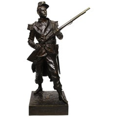 "French 19th Century Bronze Military Figure of ""Blandan"" after Jean Gautherin"