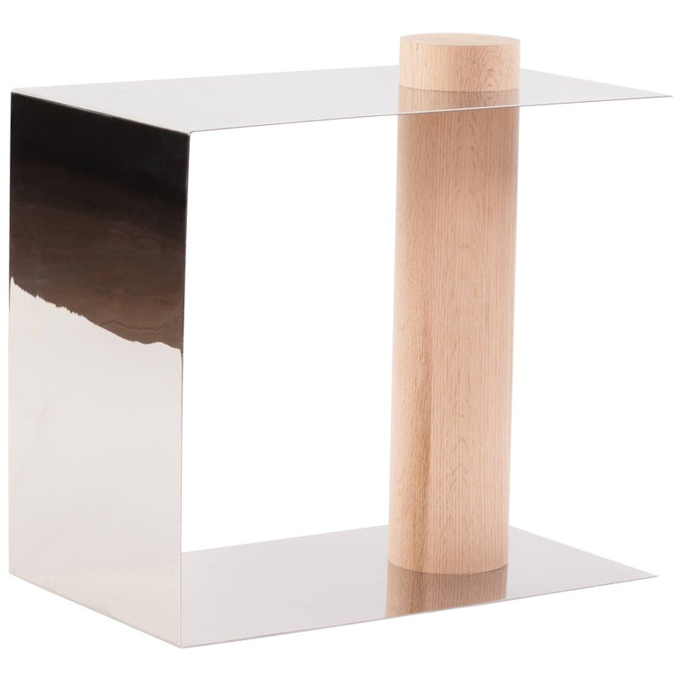 In Stock Pūru Contemporary Side Table Stainless Steel & Oak by Estudio Persona