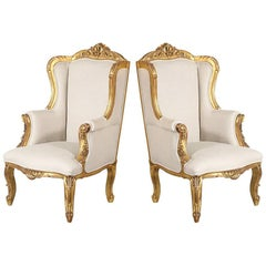 1940s French Louis XV-Style Gilded Wingback Chairs