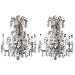 Early 20th Century Italian-Style Beads Rock Crystal Chandelier