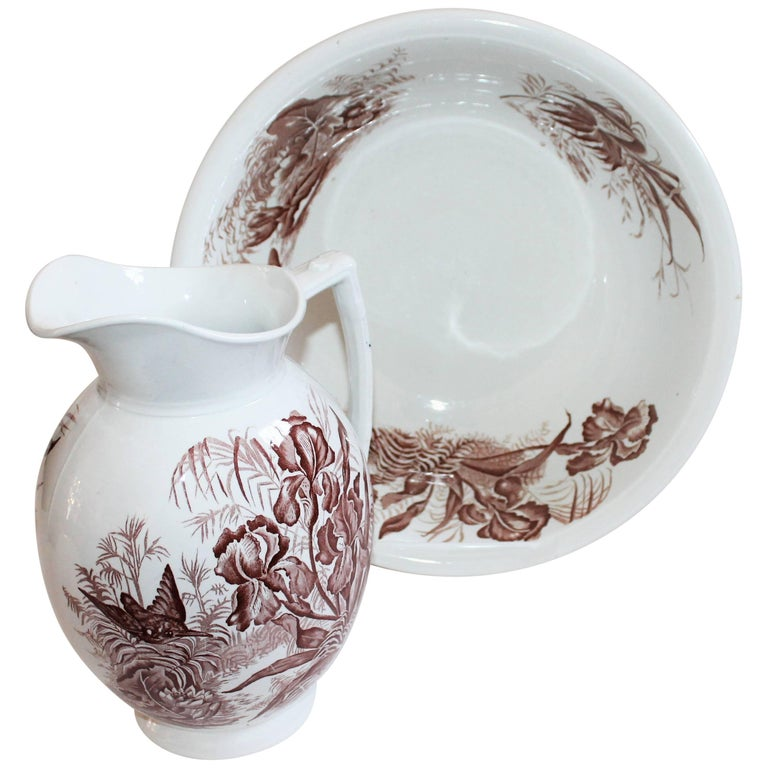 19th Century, Transfer Ironstone Wash Bowl and Pitcher Set For Sale