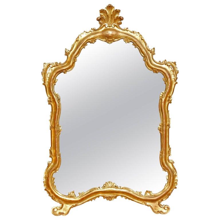 Gilt Mirror Large Italian Carved Wood