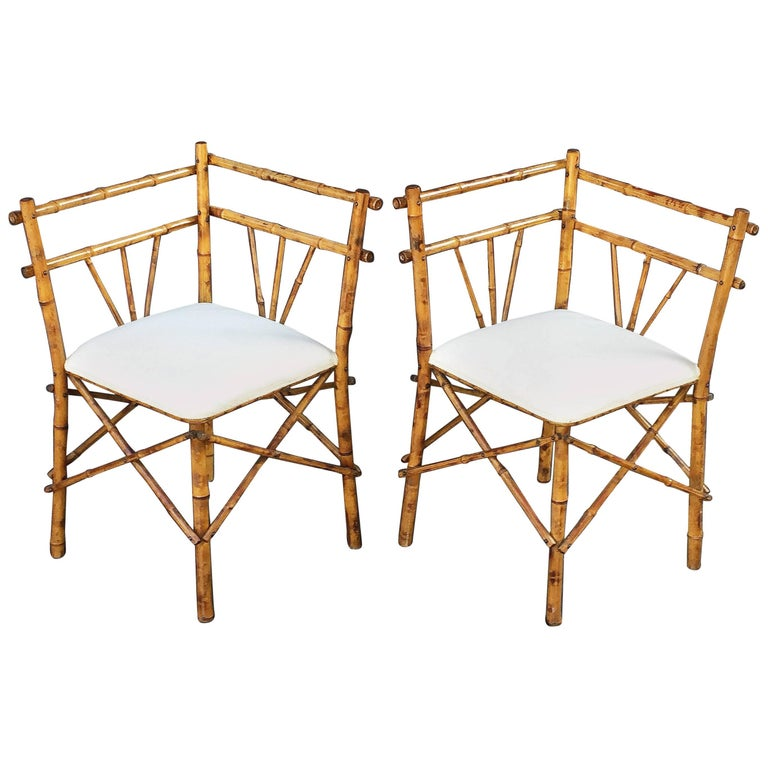 Pair of English Bamboo Upholstered Corner Chairs