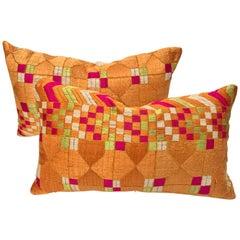 Custom Pair of Silk Embroidered Phulkari Bagh Pillow, Punjab, India