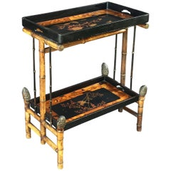 English Bamboo Tray Table with Japan Lacquered Trays