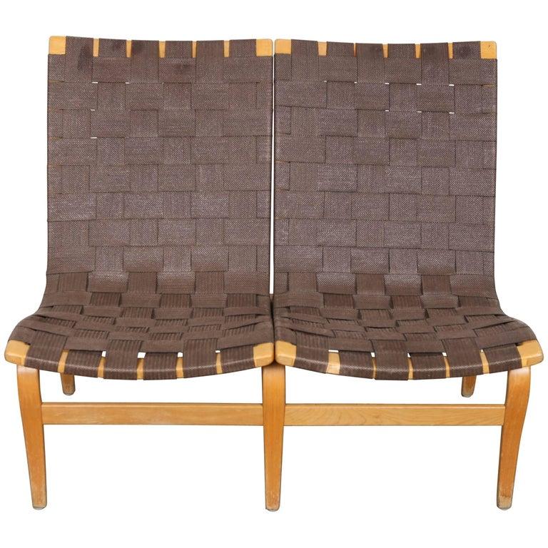 Swedish Mid-Century Modern Two-Seat Settee Webbed Sofa by Bruno Mathsson