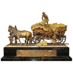 "Rudolf Winder, 19th Century Gilt-Bronze Sculpture ""Farmers"""