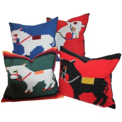 Collection of Four Mexican /American Indian Weaving Donkey Pillows