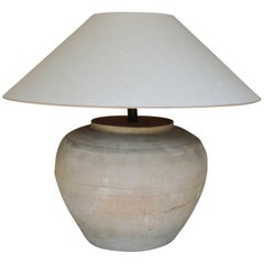 Chinese Han Dynasty Large Unglazed Belly Jar as Table Lamp