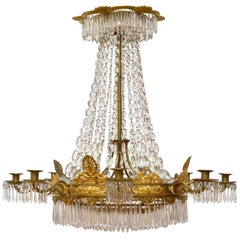 French Empire Gilt Bronze and Crystal Chandelier, Signed, circa 1825
