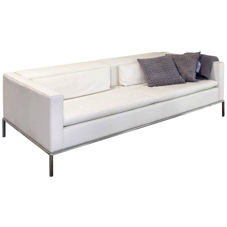 """Sofa """"DS 5/04"""" by Manufacturer De Sede in Genuine Leather, Metal and Chrome"""