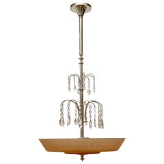 Swedish Glass and Silvered Art Deco Ceiling Lamp, circa 1930