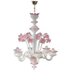 Pink and White Murano Blown Glass Chandelier with Pink Flowers, circa 1940