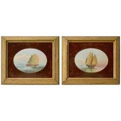 Pair of 19th Century Chinese Marine Paintings