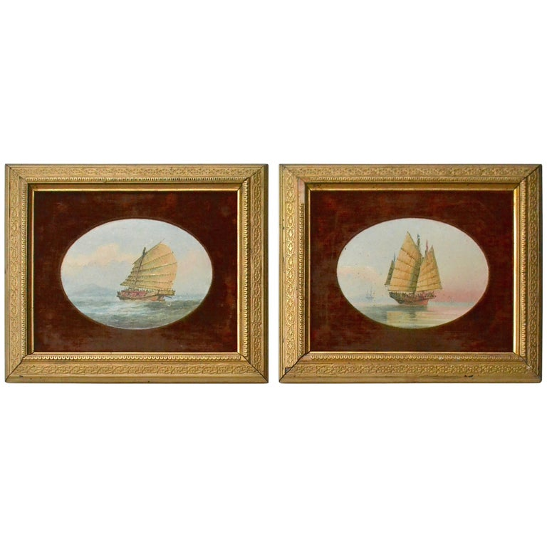 Pair of 19th Century Chinese Marine Paintings