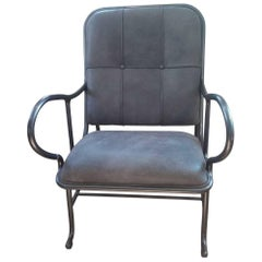 """Armchair """"Gardenias"""" by Manufacturer BD Barcelona in Leather and Aluminum"""