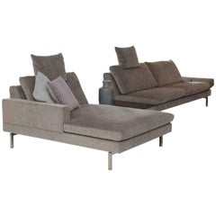 """Sofa """"Tigra 2225"""" by Manufacturer JORI in Metal and Chrome, Finished in Fabric"""