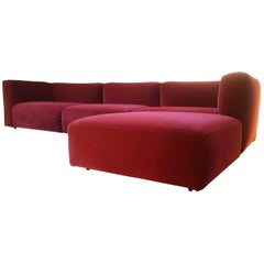 """Sofa """"Mex Cube"""" by Manufacturer Cassina in Steel, Finished in Velvety Fabric"""