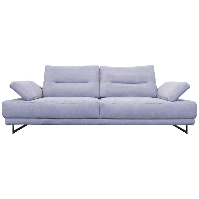 K+W Polstermöbel Designer Leather Sofa Fabric Grey Thre-Seat Couch ...