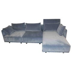 """L-Sofa """"Cube Lounge"""" by Manufacturer IP Design in Wood and Velvety Fabric"""