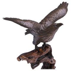 Japanese Bronze Sculpture Okimono of an Eagle