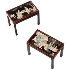Fine Pair of Coromandel Lacquer Occasional Tables