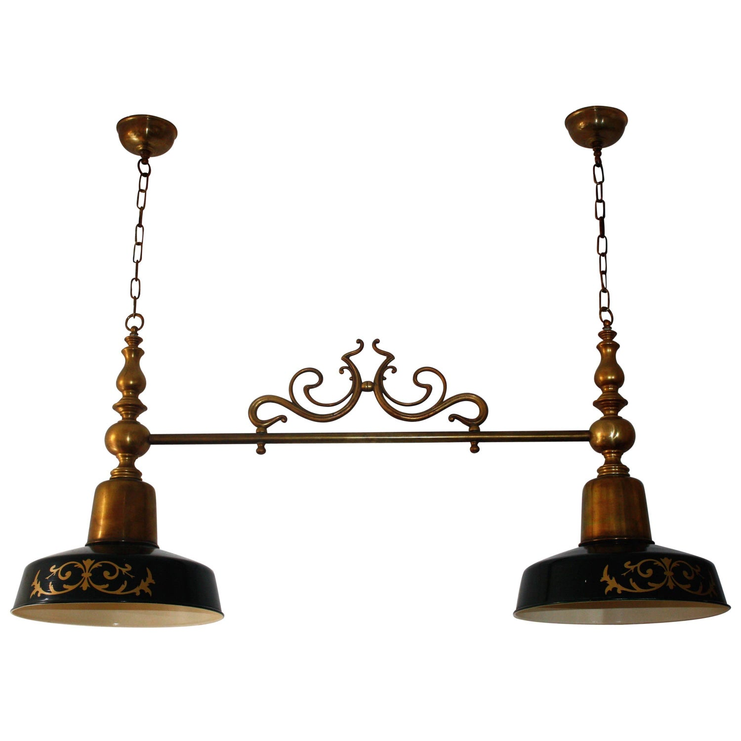 Antique billiard snooker or pool table light at 1stdibs extra large billiard snooker poker or kitchen island chandelier brass lamp greentooth Gallery