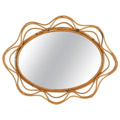 Unusual Spanish 1950s Hand-crafted Rattan and Bamboo Wavy Decorative Mirror