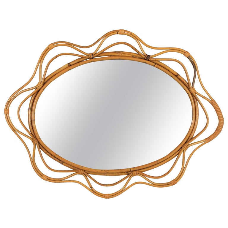 Unusual Spanish 1950s Hand-crafted Rattan and Bamboo Wavy Decorative Mirror For Sale