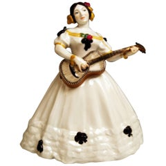 Meissen Lady Lute Player Kate Hyan by Hoesel Erich V 143 Made circa 1912