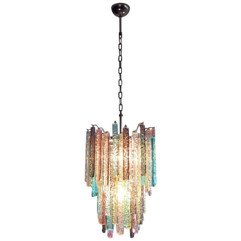 Huge Murano Chandelier Multi-Color-84 Prism in Venini Style