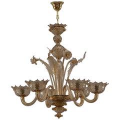 Italian Venetian Handblown Murano Glass Chandelier, 1940