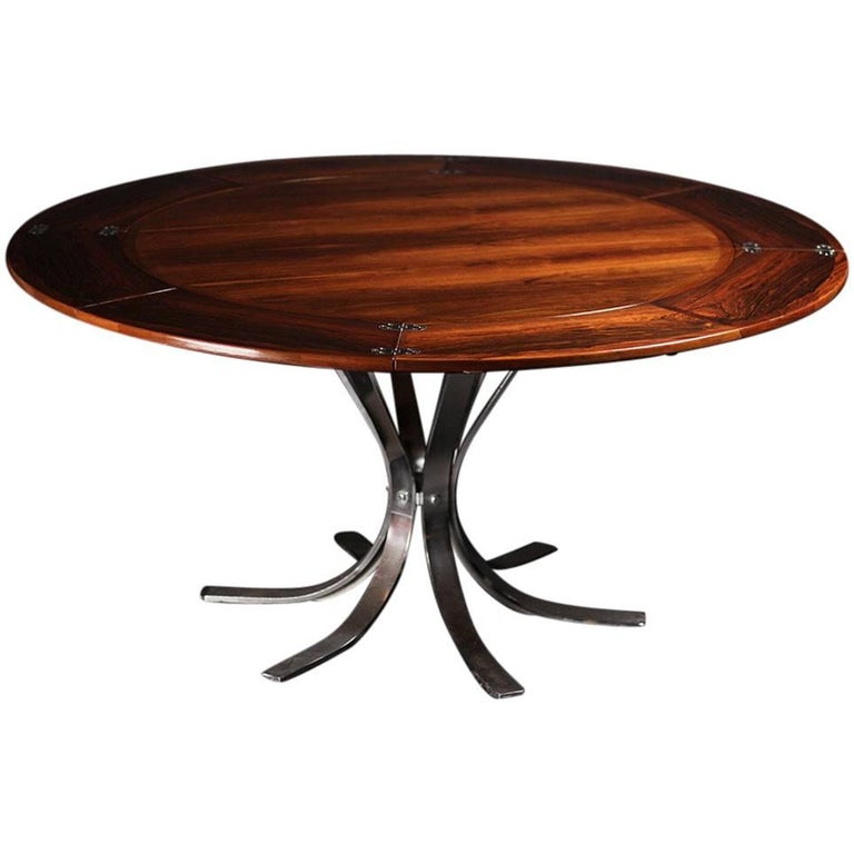 Mid Century Modern Dyrlund Rosewood Flip Flap or Lotus Dining Table.