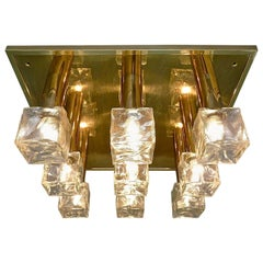 Huge Signed Kalmar Brass Frosted Glass Flush Mount Wall Light Installation, 1960