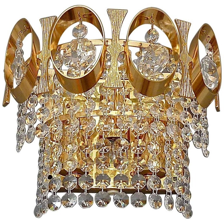 Pair of Gilt Brass Faceted Crystal Glass Sconces by Palwa, 1960s