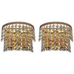 Pair Palwa Sconces Wall Lights Gilt Brass Faceted Crystal Glass Leaf Decor 1960s