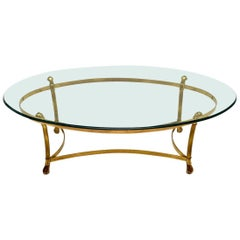Retro French Brass and Glass Coffee Table Vintage, 1970s
