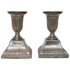 Pair of Gustavian Pewter Candlesticks, Signed Justelius 1824, Eksjö