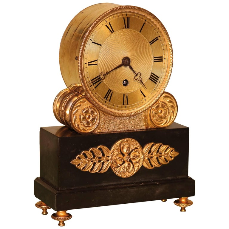 19th Century ormolu and black marble library clock