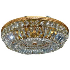Gilt Palwa Flush Mount Ceiling Chandelier Faceted Cut Crystal Glass Basket, 1960