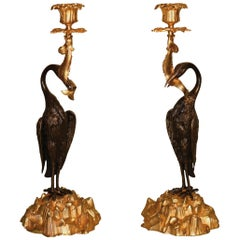 Unusual Pair of Mid-19th Century Bronze and Ormolu Candlesticks