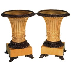 Pair of Early 19th Century Bronze and Ormolu Gothic Style Vase-Shaped Tazzas