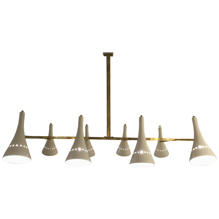 Italian Modernist Chandelier in Brass with Ivory Shades
